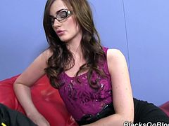 Beautiful brown-haired babe in glasses breaks the rule and has sex with the patient. Lily Carter sucks big black cock and gets banged in her wet pussy.