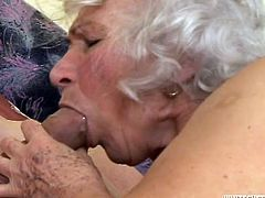 Check out this hardcore scene where this slutty cock thirsty granny gets drilled by this guy's big cock while wearing stockings.