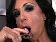 Enjoy voluptuous and very naughty brunette Jewels Jade in full masturbation scene
