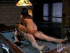 Horny brunette chick in stockings lies down on the pool table. A guy licks and also fingers Lezley's pussy. After that she gives a sloppy blowjob and gets fucked in a cowgirl position.