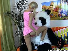 Long haired light head palatable bitch gets her tight kitty energetically drilled by massive pecker of fake Panda fucker from behind. Watch this awesome loping in WTF Pass porn clip!