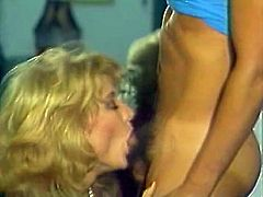 Voracious blonde MILF seduced handsome young stud for sex. She sucked his dick deepthroat before getting hammered deep in her cunt doggy style.