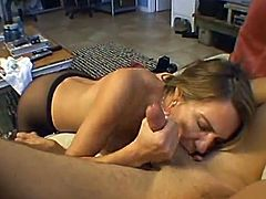 Two horny girls get toyed and fingered. Then they start to suck a dick together. After that one of the girls gets her pussy fucked through the hole in pantyhose.