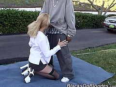 That lucky black dude get nice blowjob in the car and then he drilled this hot blondes tight asshole with his big boner outdoors.