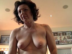 Dark haired salacious old wench with saggy boobs and terrifically ugly twat fell on floor and set to swallow massive penis deep throat. Watch this crazy old chick in Fame Digital porn clip!