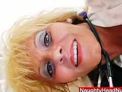 Patricie the blond milf nurse fingering pussy with multiple toys.See how her nurse uniform come out and see spreads her legs to show her hairy pussy to you in close up.