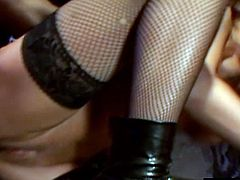 Brutal anal with horny brunette slut in stockings. She opens wide to satisfy that black hunk with monster cock. She lets him inside her tight hole today for her first interracial affair.