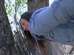 Jamie Jackson is one lovely round assed girl that spreads her sexy butt cheeks indoors and outdoors in this hot scene. She poses in red string panties and then naked. Hot-ass babe shows her sexy pink pussy from behind.