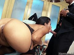 He plays with her ass and kitty with a metal sex toy. Then she gives him a head and gets banged doggystyle in Harmony Vision xxx video!