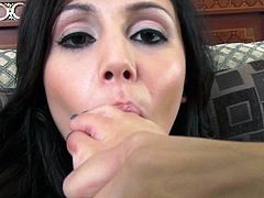Charming black haired seductress Ariana Marie loves fucking her wet shaved pussy with vibrator. Cutie sucks her toes and shows off her tender soles.