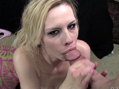 Make sure you get a load of this hardcore scene where the slutty blonde Tara Lynn Foxx sucks on a big cock before her face's covered by semen.