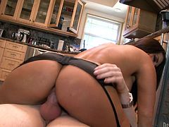 Check out this hardcore scene where busty brunette Mackenzee Pierce ends up covered by cum after being fucked in the kitchen while wearing sensual lingerie.
