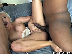 She is such a delightful and slutty one! Honey gets down on three black cocks and tries them in her mouth! Then she gets dicked hard!