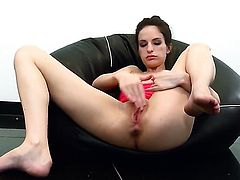 Ann Marie La Sante with small tits and hairless cunt satisfies herself in solo action