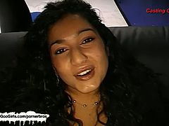 Rosa is an exotic-looking babe. She gives this guy a blowjob and a rimjob. She digs her tongue deep in his ass hole and then she lets him fuck her face and cum inside her mouth.