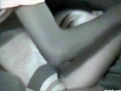 Horny dude can wait until the girl wakes up and serves him properly so he feels up her tits while she sleeps. He puts much efforts to wake her up but he fails.