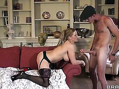 Danny D fucks Rebecca Moore as hard as possible in steamy anal action before dick sucking