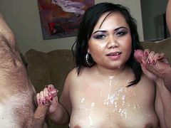 Asian brunette hottie with some meat on her bones gets dual shagged by two big white dicks. Asian fattie gives sloppy blowjobs and takes two big loads of fresh cum on her face and big tits.