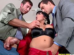 Big tittied Alison Star gets fucked by two business partners