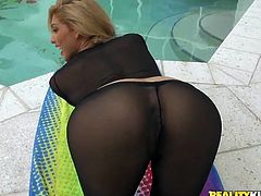 Touch yourself watching this blonde latina, with a nice ass wearing nylon pantyhose, while she gets pounded hard and moans loudly.