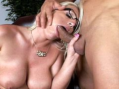Voluptuous blonde secretary goes pretty wild in a stunning hardcore fuck at work