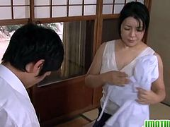 Watch this thick ass and busty Japanese mature babe getting naked for her skinny lover who fingers her wet cunt and fucks her hard and fast while she mans loud in pleasure.