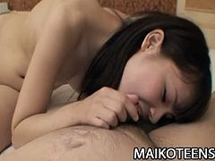 Checkout this sexy brunette Japanese teen babe Etsuko Hatanaka in this hot hardcore video.See how her lover fingers her hairy cunt and then fucks her hard till he creampies her.