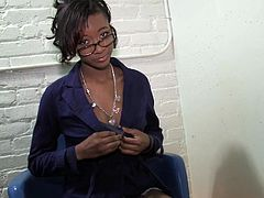 Be part of this clip where an ebony, with natural boobs wearing glasses, while she uses her mouth to give pleasure to a guy she doesn't even see.