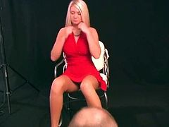 Blonde bombshell Alison Angel lifts up her dress, spreads her legs wide open and shows her flawless shaved pussy while pulling out her great tits.
