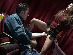 Brown-haired slut Aleksa Nicole is playing dirty games with some dude in a cinema. They have ardent oral sex and then bang in cowgirl position among the arm chairs.