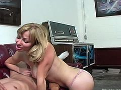 Take a look at Adrianna Nicole's amazing body in this hot solo scene where this horny blonde jerks this guy off until he cums.