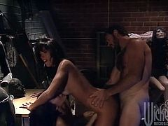 Anna Malle and Asia Carrera are having funw ith some guy in garage. They drive the man crazy with a passionate blowjob and then get their pussies pounded from behind.