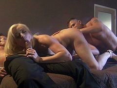 Then she gets rimmed and they slide those dicks in all of her holes! Gagging cock, spread snatch and deep deep anal! So hot and made to swallow!