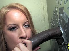 Playful blonde chick with with booty sucks a big black cock in a glory hole video. Later on Desire also gets fucked in her shaved pussy.