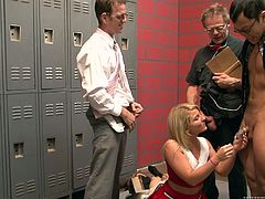 Make sure you take a look at this hardcore scene where this sexy blonde teen is fucked by a horny fellas in a locker room.