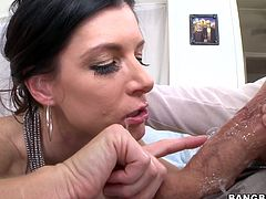 India summer has been sucking cock for many, many years and today she is going to prove how talented she is. Watch as she pulls her panties aside to show of her perfectly aged cunt. She wraps her lips around this massive member and goes to town. She is slobbering all over that cock and licking it ferociously from taint to tip.