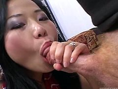 Make sure you take a look at this hardcore scene where the slutty Asian babe Niya Yu is nailed by this guy's big cock until she's facialized.