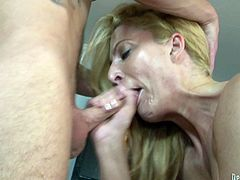 Take a look at this hardcore scene where the busty blonde milf Jennifer Best is fucked silly by this guy until she swallows his load.