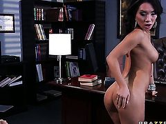 Asian Asa Akira gets turned on then butt stuffed by Mick Blues erect worm before she gives headjob