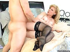 Anthony Rosano loves always wet warm love hole of Nina Hartley with phat ass
