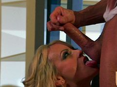 Sexy blonde Stormy Daniels sits down on some man's dick and jumps on it. They also fuck in side-by-side position and then Stormy milks the boner dry on her chin.