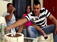 Nice brunette girl makes an amazing present to her boyfriend. She brings a cake and also shows her nude body. After that she gets fucked by her boyfriend and his best friend.