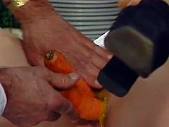 Horny grey haired stud fucks his thirsting blond wifey with carrot and cucumber