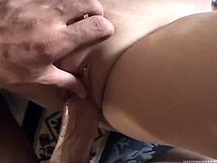 Check out this hardcore scene where the busty blonde Sophia Mounds is fucked silly by this guy after showing off her massive round breasts.