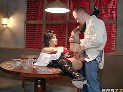 Back to 1862 with Rose Monroe! Youll see this nasty sexy in black stockings and boots spreading her legs wide on poker table and getting her shaved juicy pussy pounded hard by Richie Black.