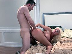 A slutty fuckin' bitch sucks on a hard cock and then gets it shoved balls deep into her fuckin' gash, check it out right here!