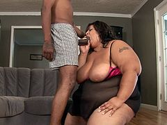 Huge lady and a younger stud in staggering hardcore BBW fuck show