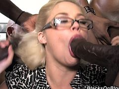 Group of Black dudes seduce Katie Kox to have a wild group sex. She sucks their big black cocks passionately and then gets double penetrated. Of course guys also cum on Katie's happy face.