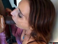 Effortlessly seductive chick Brooke Adams wants to know what it feels like to suck a huge black cock and today is her lucky day.