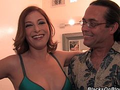 Prepare your cock for this latina pornstar, with big jugs wearing high heels, while she goes hardcore with a black dude and moans loudly.